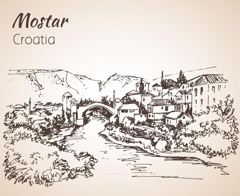 Old town of Mostar, Croatia. Croatia. Sketch. Isolated on white background royalty free illustration