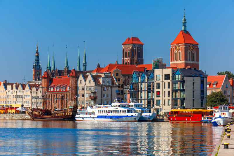 Old Town and Motlawa River in Gdansk, Poland royalty free stock photos