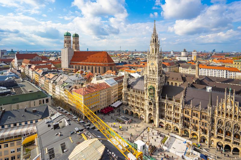 Old Town of Munich cityscape skyline in Germany.  royalty free stock images
