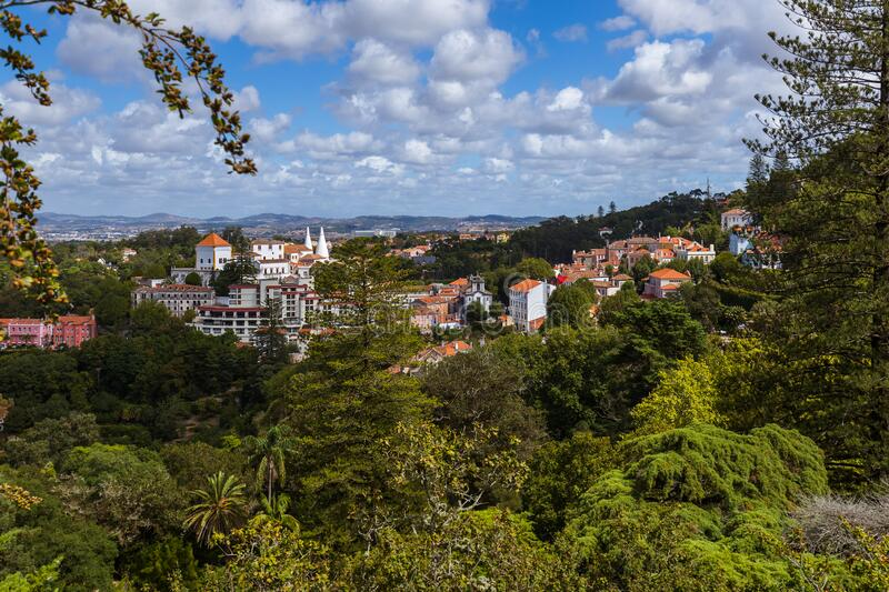 Old town and National Palace - Sintra Portugal stock photo