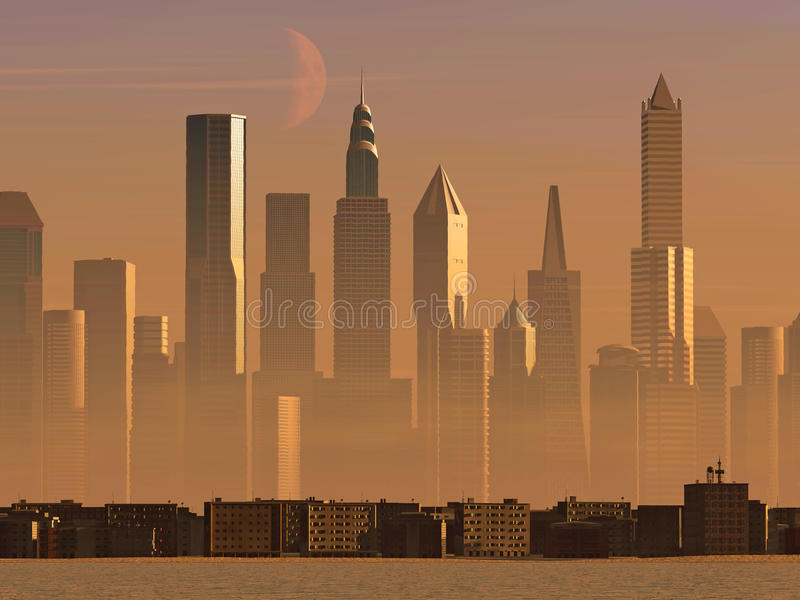 Old town and new city. At sunrise stock illustration