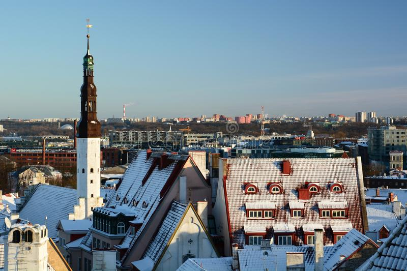 Old town and new city on the background. Wiew from Kohtuotsa viewing platform. Tallinn. Estonia stock photo