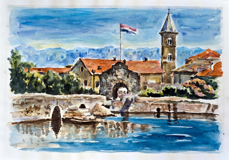 Old town Nin. Watercolor painting royalty free illustration
