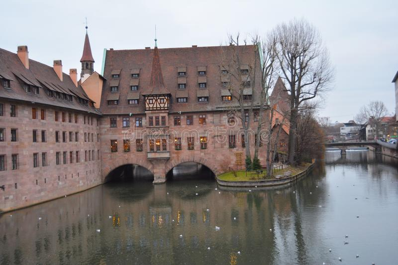 The old town, Nurnberg, Germany. The old town, Medieval buildings on the river. Nurnberg, Germany stock photography