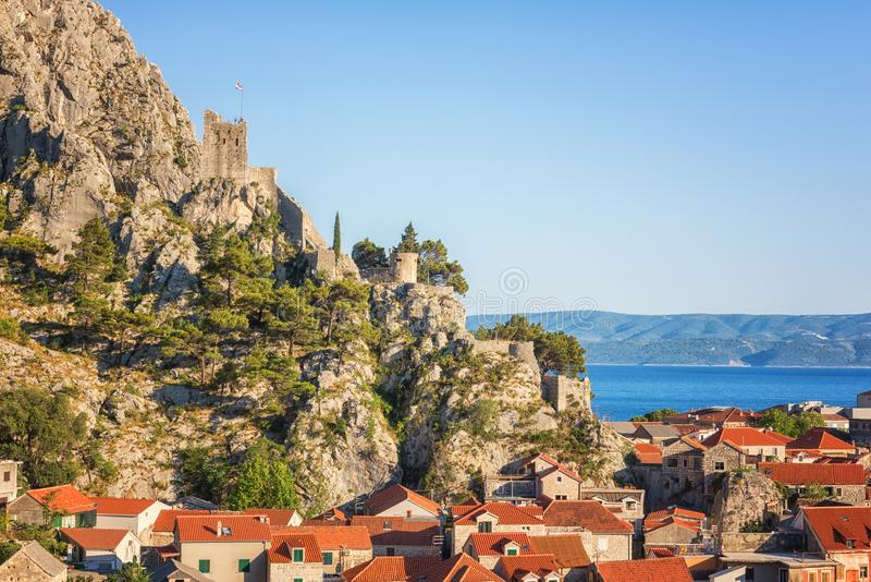 Old town of Omis with ancient fortress ruins, Dalmatia, Croatia stock image