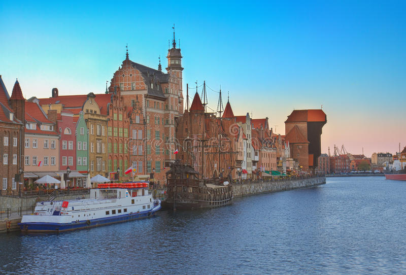 Download Old Town Over Water, Gdansk Stock Photo - Image of crane, blue: 40189216