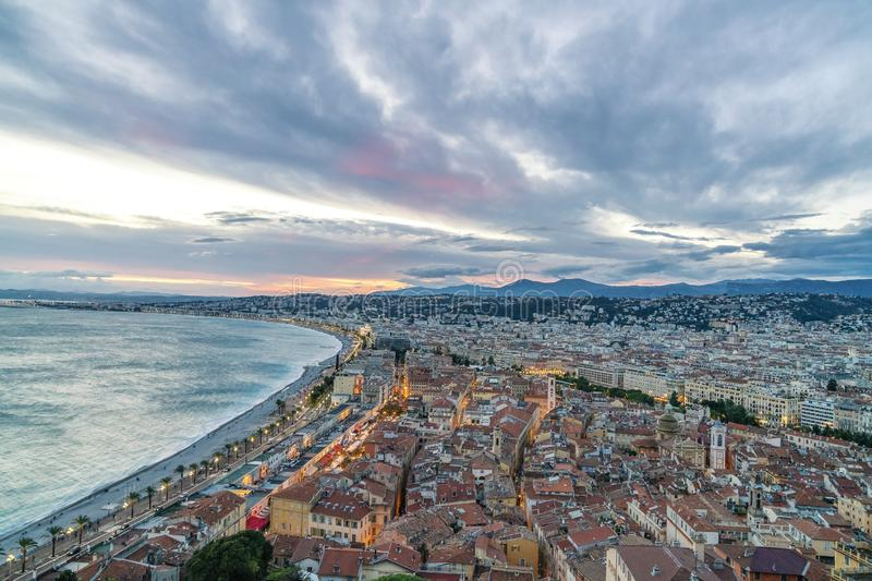 Old Town Panorama in Nice, France stock photography