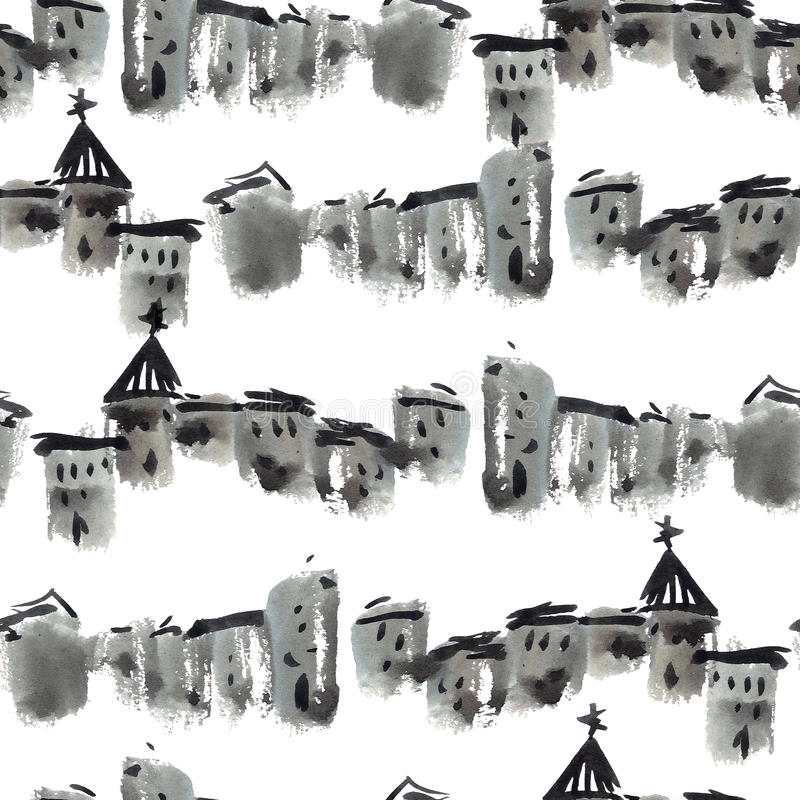 Old town pattern. Landscape of old town. Watercolor painting. Seamless pattern stock illustration