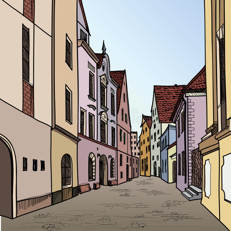 Old town. Pedestrian street in the old european city. Historic c vector illustration