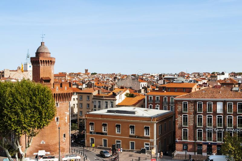 Old town of Perpignan, in France stock image