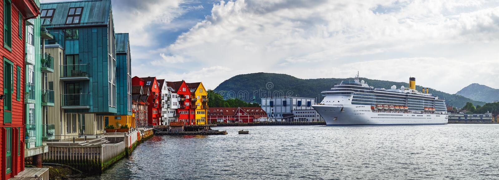 Old Town pier architecture in Bergen, Norway. Historical buildings in Bryggen - Hanseatic wharf in Bergen, Norway. Scenic summer panorama with the Old Town pier stock photography