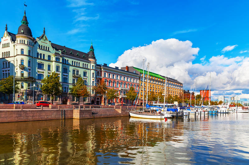 Old Town pier in Helsinki, Finland. Scenic summer view of the Old Port pier architecture with ships, yachts and other boats in the Old Town of Helsinki, Finland royalty free stock photos