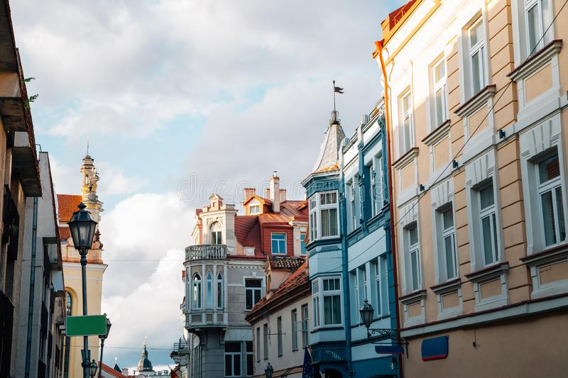Old town Pilies street in Vilnius, Lithuania. Europe royalty free stock image