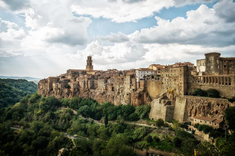 Old town of Pitigliano, Grosseto, Tuscany, Italy. Panoramic view of the historic hilltop village of Pitigliano, Grosseto, Tuscany, Italy royalty free stock photography