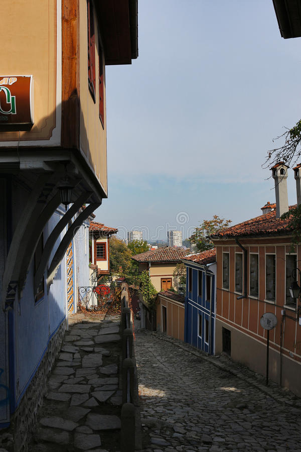 Old town in Plovdiv stock image