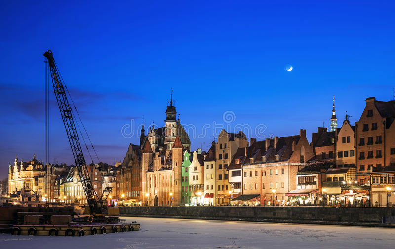 Old Town and the port of Gdansk. In winter stock photos