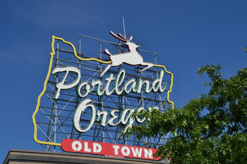 Old Town, Portland, Oregon Sign. This is the historic sign, `Portland, Oregon, Old Town` in downtown Portland, Oregon near the Burnside Bridge stock photo