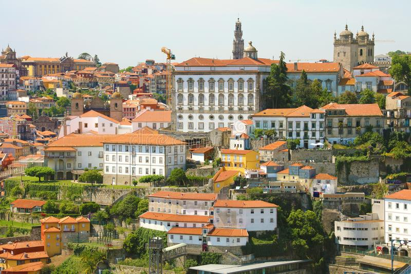 Old town with of Porto with the Episcopal Palace Paço Episcopal view from the city Vila Nova de Gaia, Portugal. stock images