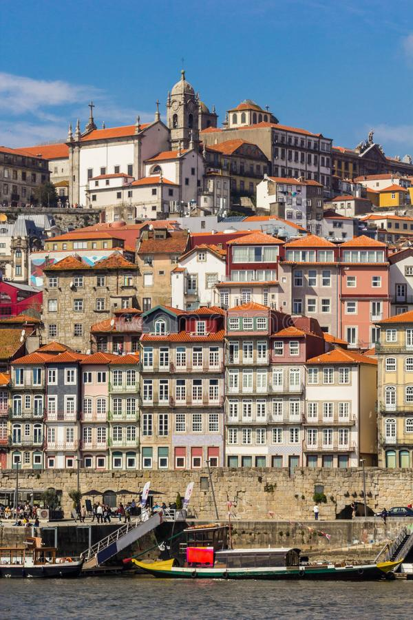 Old town Porto with river and boat, Portugal stock photos