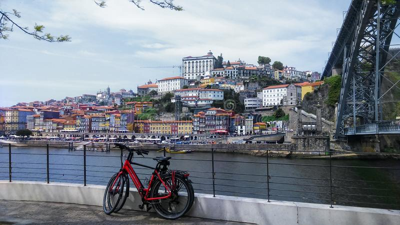 Old town Porto on River Duro , Portugal. Old town Porto on River Duro viewed at Dom Luiz bridge, Portugal royalty free stock photos