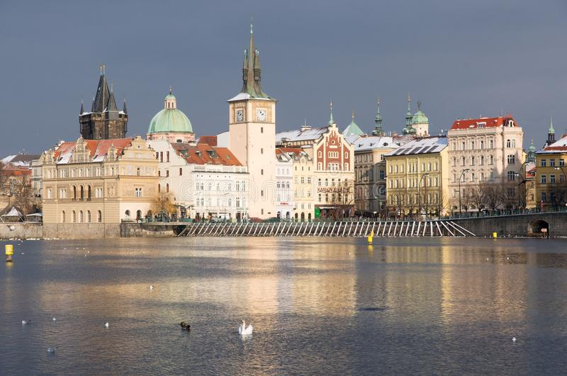 Old Town in the Prague, Czech republic. Old Town and river Vltava from Strelecky ostrov, Prague, Czech republic, Europe royalty free stock photos