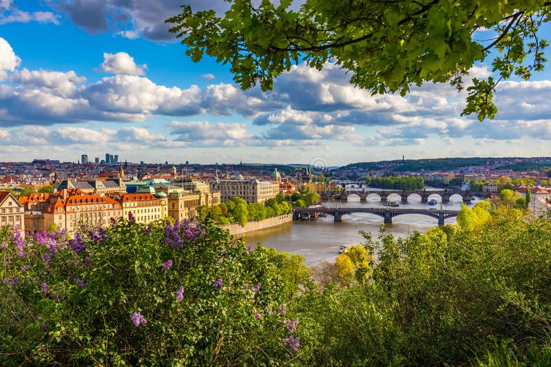 Old town of Prague. Czech Republic over river Vltava with Charles Bridge on skyline. Prague panorama landscape view with red roofs royalty free stock photo