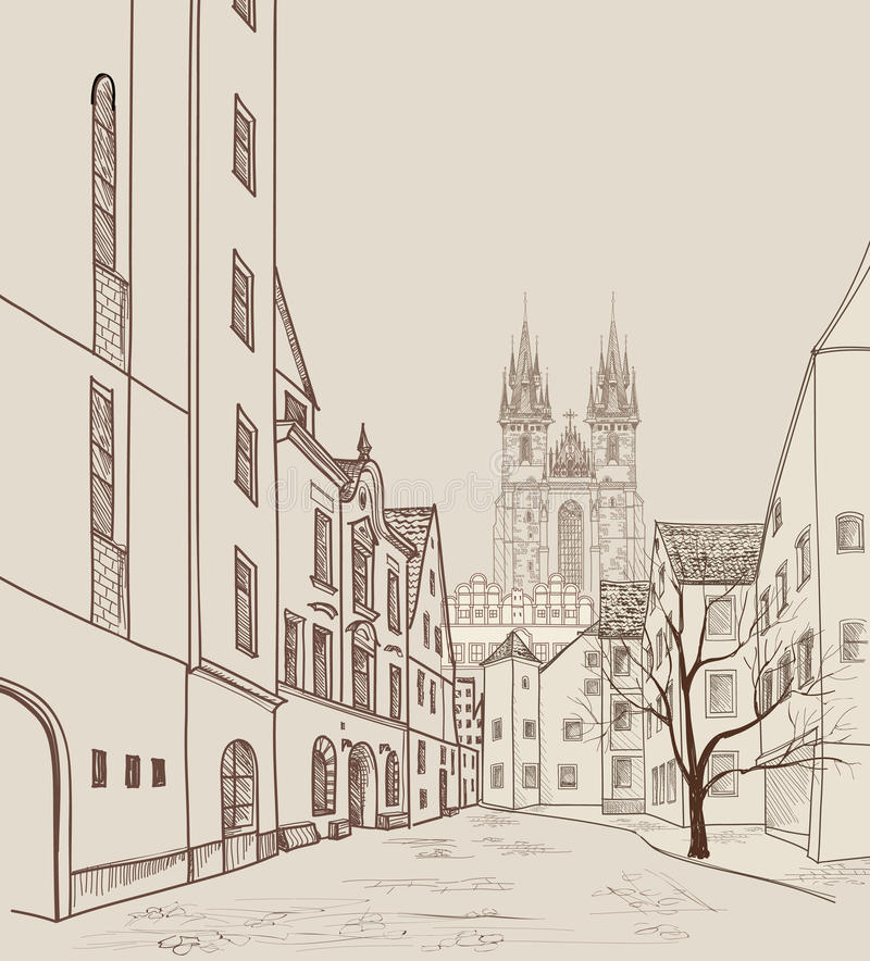 Old Town of Prague, Czech Republic. Pedestrian street in old city. Old Town of Prague, Czech Republic. Pedestrian street in the old european city with tower on royalty free illustration