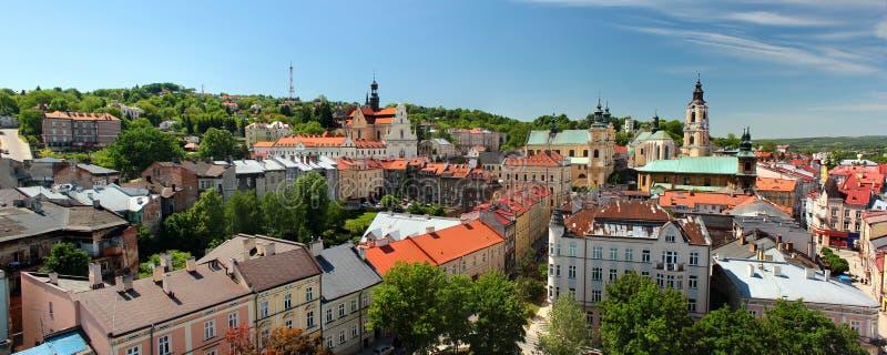 Old Town of Przemysl, Polen Panorama van de Kloktoren stock foto's