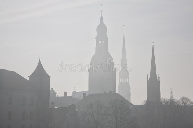 Old town of Riga, Latvia. A UNESCO World Heritage Site. Photo taken at. Foggy morning royalty free stock photography