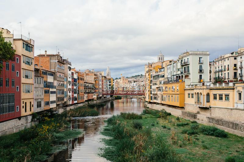 Old town at the river in Girona royalty free stock photos