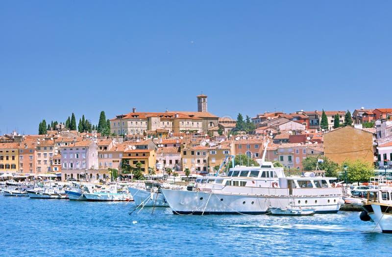Old town Rovinj. View on Old town Rovinj from sea, Istria, Croatia royalty free stock photos