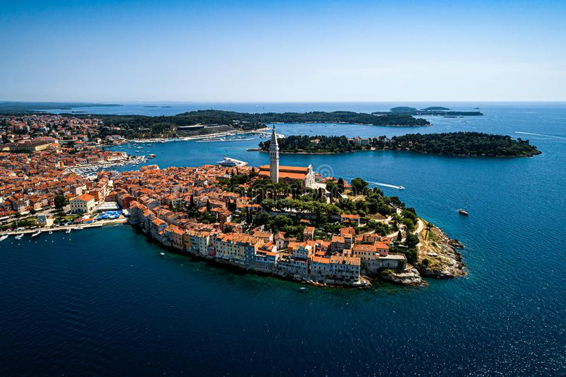 The old town of Rovinj, Croatia travel destination. The old town of Rovinj, Istria, Croatia travel destination - beautiful aerial view royalty free stock photography
