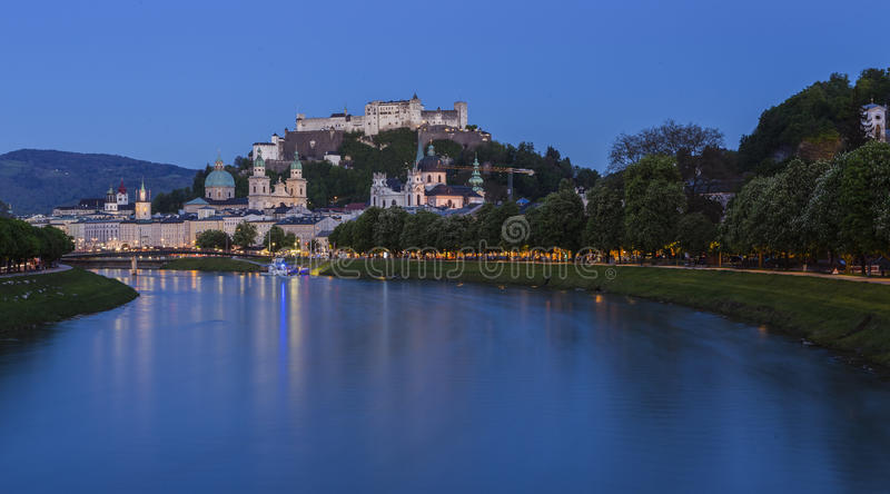Old Town of Salzburg and Fortress Hohensalzburg royalty free stock image