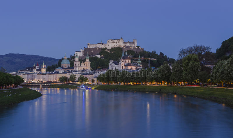 Old Town of Salzburg and Fortress Hohensalzburg stock image