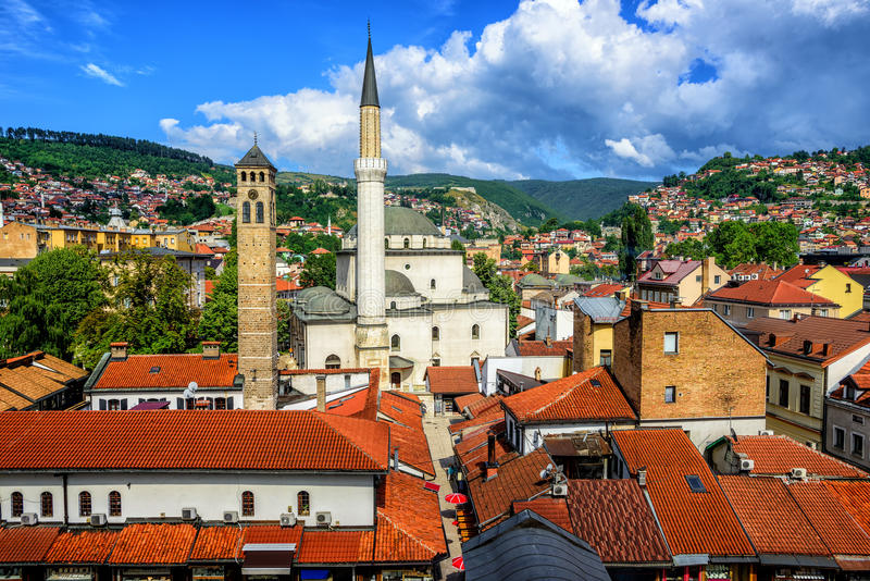 Old Town of Sarajevo, Bosnia and Herzegovina. Old Town of Sarajevo with Gazi Husrev-beg Mosque and red tiled roofs of main bazaar, Bosnia and Herzegovina stock photography