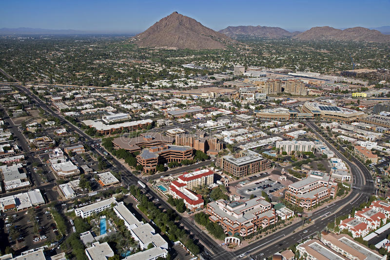 Old Town Scottsdale. Aerial view of Old Town Scottsdale with Camelback Mountain in the distance stock photos