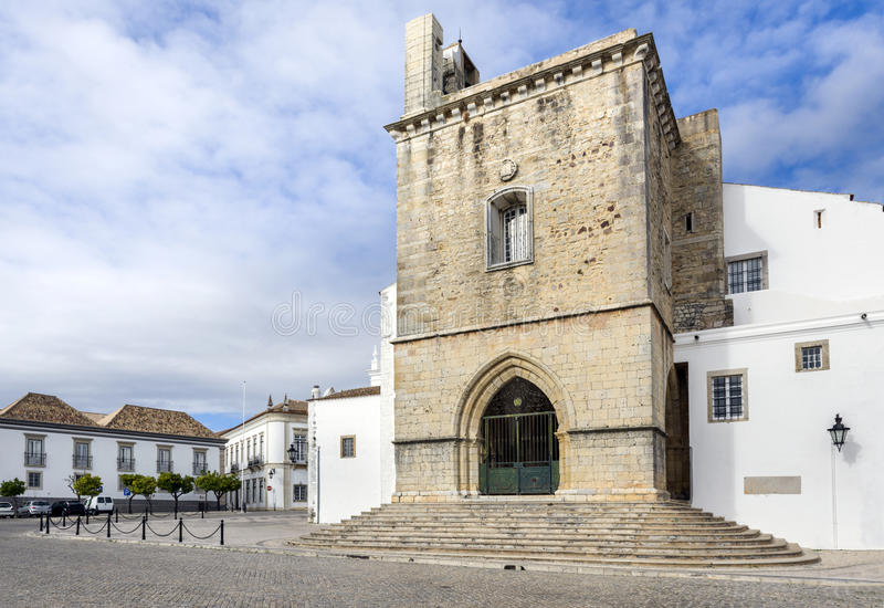 Old town Se Cathedral square in Faro, Portugal. Old town Se Cathedral square in Faro, Algarve, Portugal stock photo