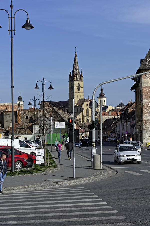 Old Town Sibiu Romania View from Cibin Bridge. With towers on blu sky royalty free stock images