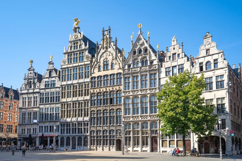Old town square of Antwerp in Belgium royalty free stock image