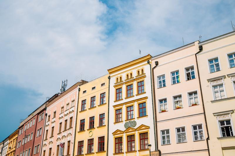 Old town square colorful buildings in Olomouc, Czech Republic royalty free stock photography