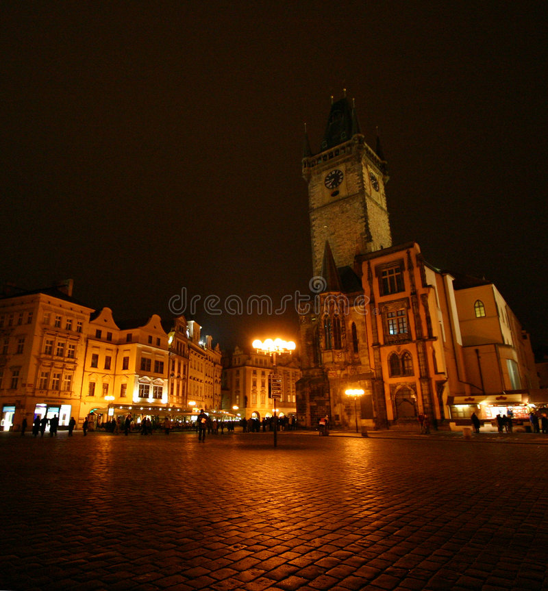 Old Town Square by night stock images