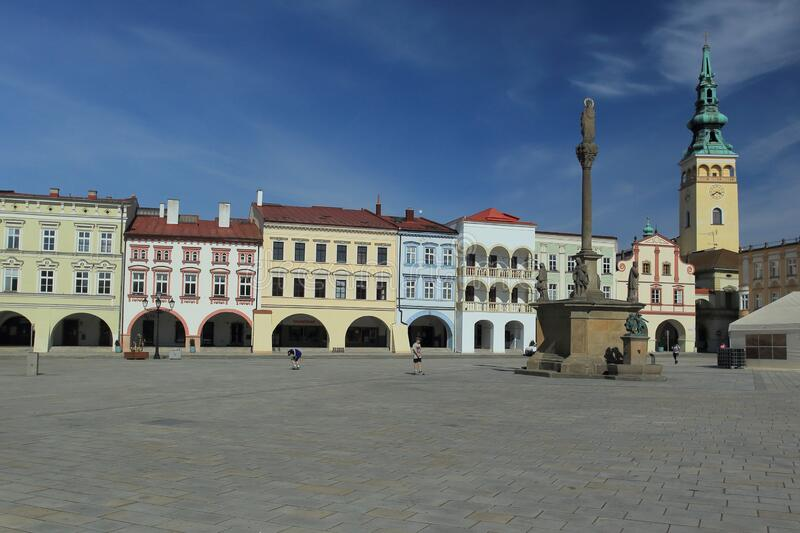 Old town square in Novy Jicin royalty free stock image
