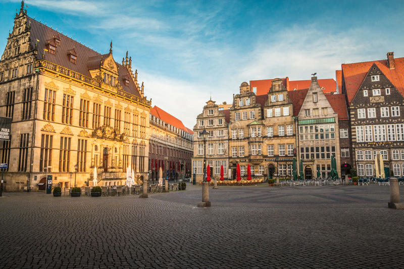 Old town square onf Bremen Germany stock image