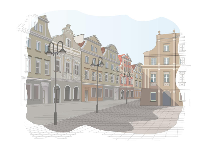 Old town square in Poland. Vector illustration royalty free illustration