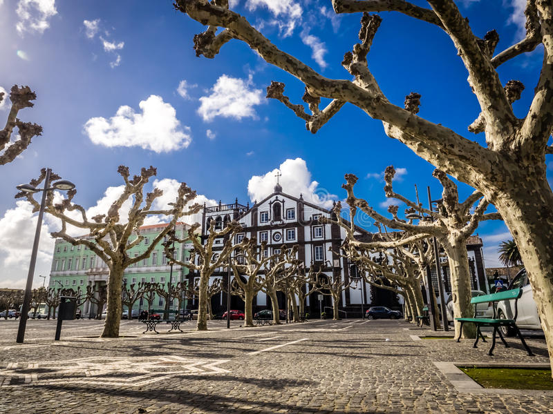 Old town square in Ponta Delgada stock photos