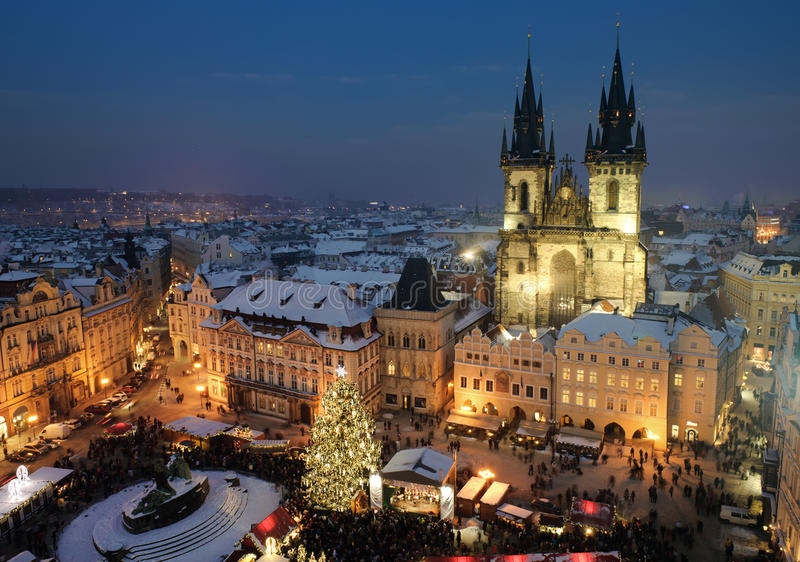 Old town square in Prague at Christmas time. Night stock photography