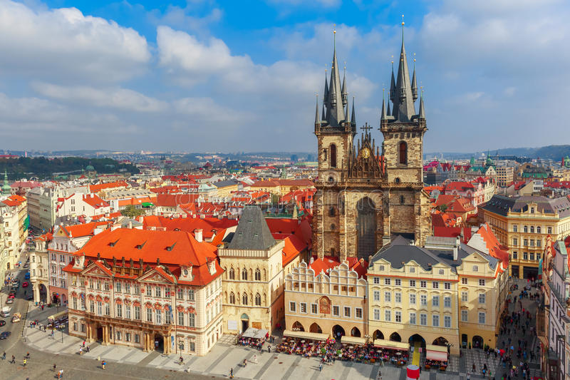 Old Town square in Prague, Czech Republic. Aerial view over Church of Our Lady before Tyn at Old Town square in Prague, Czech Republic stock image