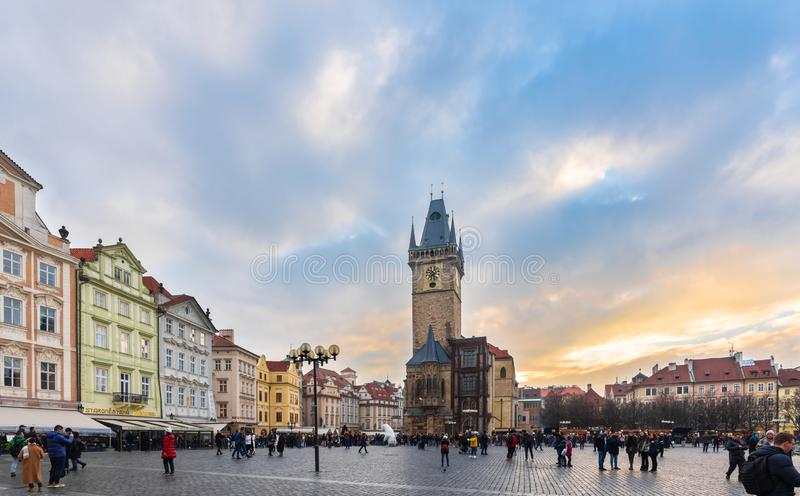 Old Town Square in Prague old town. Prague, Czech Republic-February 02, 2019. Old Town Square is a historic square in the Old Town quarter of Prague and features royalty free stock photo