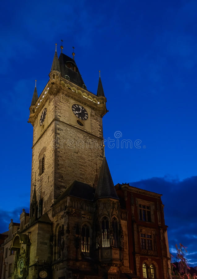 Old Town Square in Prague, Czech Republic in the night stock photo