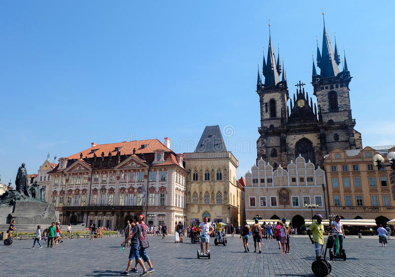 Old Town Square Prague - Czech Republic. The Old Town Square and the surrounding quarter form the heart of the city of Prague. The lively square is lined with royalty free stock image